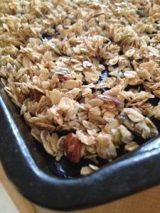 Granola on baking sheet